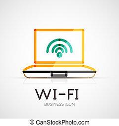 ditta, concetto, logotipo, affari, wifi
