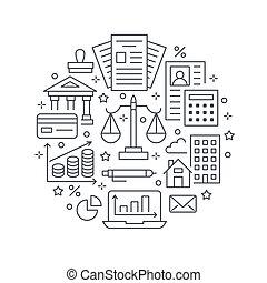 ditta, finanziario, libro paga, proprietà, tassa, ragioniere, servizi, segni, contabilità, optimization, lineare, concetto, legale, cerchio, contabilità, reale, appartamento, finanza, manifesto, icons., opuscolo, linea, crediting., contabilità