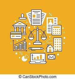 ditta, finanziario, libro paga, proprietà, tassa, ragioniere, servizi, segni, contabilità, optimization, concetto, legale, cerchio, contabilità, reale, appartamento, finanza, manifesto, icons., opuscolo, linea, crediting., vettore, contabilità