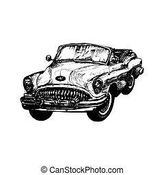ditta, illustration., vendemmia, sketched, automobile., mano, garage, vettore, sport, retro, label., automobile, logotipo, negozio