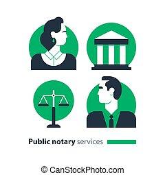 ditta, legge, icone, set, certify, advocacy, consultare, ...