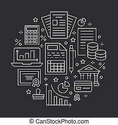 ditta, prestito, finanziario, libro paga, proprietà, tassa, ragioniere, servizi, segni, contabilità, optimization, concetto, legale, cerchio, contabilità, reale, appartamento, finanza, manifesto, icons., opuscolo, linea, crediting., contabilità