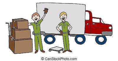 ditta, scatole, spostamento, squadra, camion, cartone animato