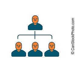 ditta, struttura, icon., personale, management., capo, e, subordinates., amministrazione, segno., concetto affari, simbolo