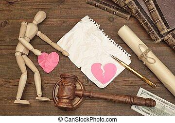 divórcio, conceito, em, a, court., gavel, livro lei, juizes, gavel