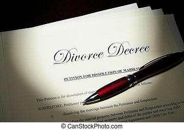divórcio, decreto, caneta, papeis