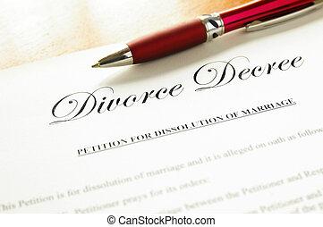 divórcio, decreto, documento, closeup, caneta