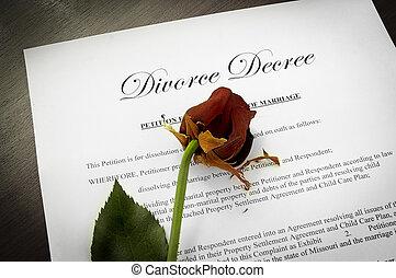 divórcio, decreto, documento, morto, rosa