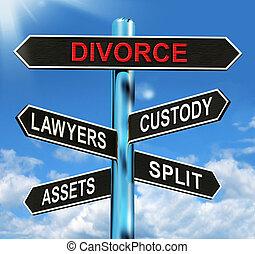 divórcio, signpost, meios, custódia, divisão, ativos, e,...