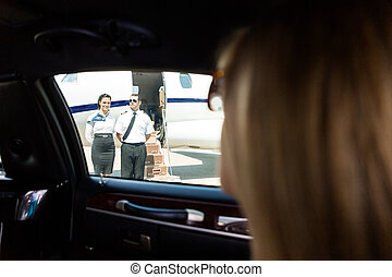 Diva in Limo Arriving at Private Jeg - View of airhostess...