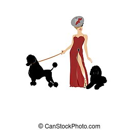 diva in red gown with her poodles
