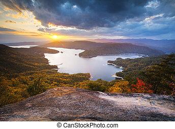 divadelní, fotografování, jezero, podzim, západ slunce, jih, listoví, podzim, jocassee, ze severní části státu, krajina, karolina
