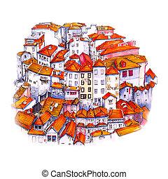 divadelní, velkoměsto prohlédnout, o, porto, portugalsko