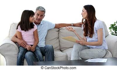 divan, famille, séance