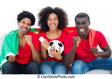 divan, football, ventilateurs, fla, portugal, applaudissement, rouges, séance