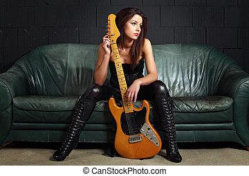 divan, guitare, séance, joueur, sexy