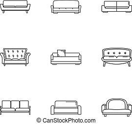 Divan icons set, outline style - Divan icons set. Outline...