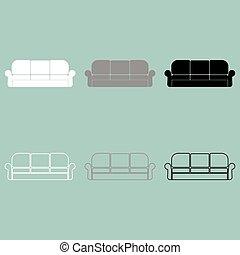 Divan or sofa white grey black icon. - Divan or sofa white...
