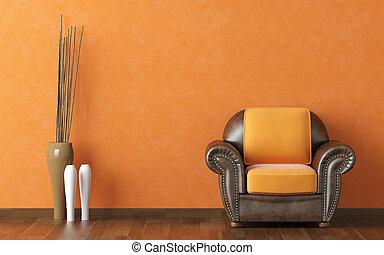 divan, orange, mur, brun, conception, intérieur