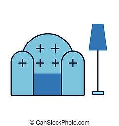 divan, scène, livingroom, lampe, sofa