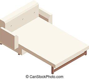 Divan sofa icon, isometric style