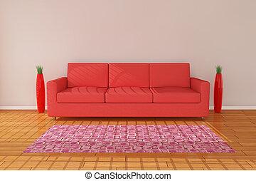 divano, 3d, interpretazione, vaso
