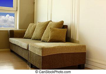 divano, angolo, moderno