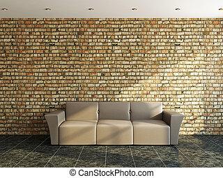 divano, appresso, uno, vecchio, parete