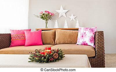 divano, beige, cuscini
