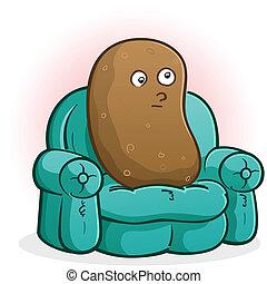 divano, carattere, cartone animato, patata