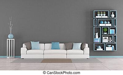divano, contemporaneo, stanza, vivente