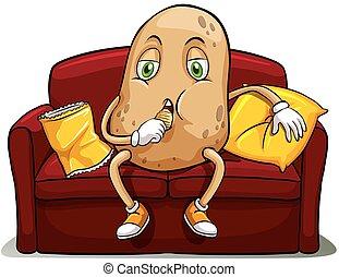 divano, couched, patata rossa