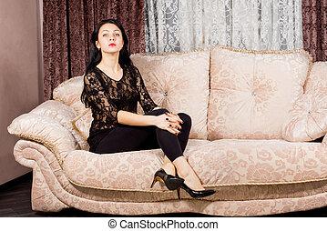 divano, donna, proposta, sofisticato