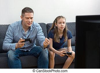 divano, gamepads., figlia, padre, seduta