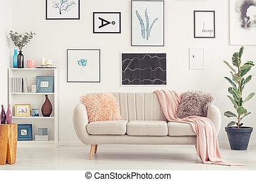 divano, in, soggiorno