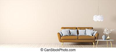 divano, interpretazione, arancia, tavola, caffè, 3d, interno