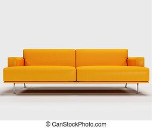 divano, -, isolato, interpretazione, fondo, arancia, bianco, 3d