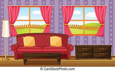 divano, lato, tavola rossa