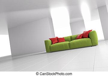 divano, luminoso, verde, stanza, angolare