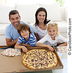 divano, mangiare, famiglia, pizza
