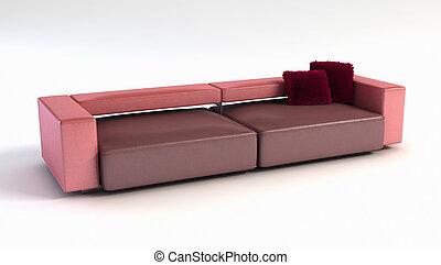 divano, moderno, 3d, interpretazione