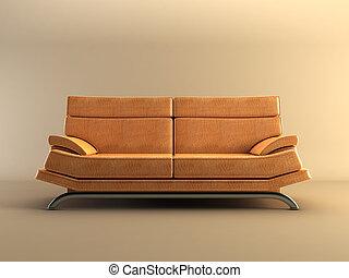 divano, moderno, cuoio