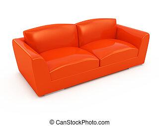 divano, moderno, isolato, fondo, bianco rosso
