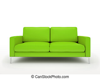 divano, moderno, isolato, sfondo verde, bianco