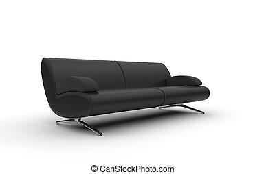 divano, moderno, nero
