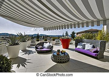 divano, moderno, terrazzo, tendoni, poltrone