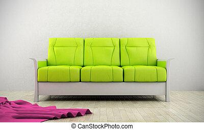divano, moderno, verde