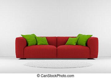 divano, moquette rossa