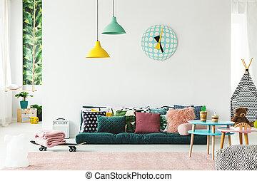 divano, playroom, colorito