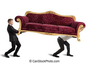divano, portante, uomini